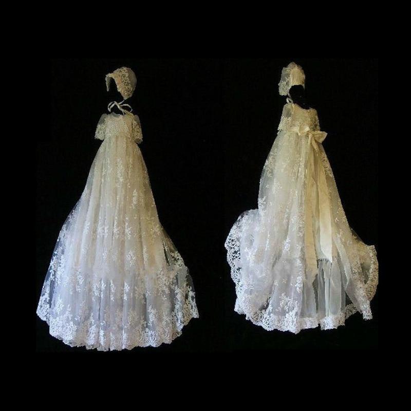 Новая высокая конец пользовательские дворец аристократичная Платье для крещения для маленьких детей Кружева каскадных длинные Винтаж кре