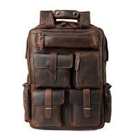 Для мужчин рюкзаки из коровьей кожи 15,6 дюймов ноутбук рюкзак Для мужчин из натуральной кожи рюкзаки для подростка Для мужчин Бизнес Повседн