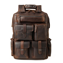 Mens Backpacks Cow Leather  15.6 Inch Laptop Backpack Men Real leather For Teenager Business Casual Daypacks