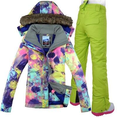 GSOU neige marque femmes veste de Ski pantalon Snowboard costume coupe-vent imperméable thermique sports de plein air porter des vêtements de Ski Snowboard - 2