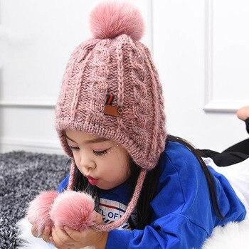 autumn winter hats faux rabbit fur crochet beanie fox fur pompom caps children cotton thick warm beanies bonnet cap for 0-3 year