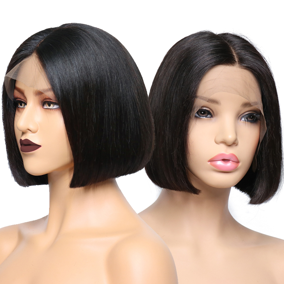 KL Brazilian Straight Short Bob Full Lace Human Hair Wigs With Baby Hair Around Front Glueless