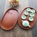 Японский деревянный Сакура полый поднос для чая Европейский вишневый цвет фруктовое блюдо овальная тарелка бытовой деревянный поддон для ...