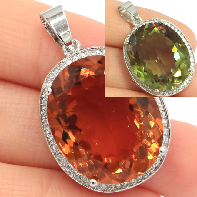 Big Oval Gemstone Deluxe Top AAA 22x18mm Color Changing Spinel Natural CZ Silver Pendant 25x20mm in Pendants from Jewelry Accessories