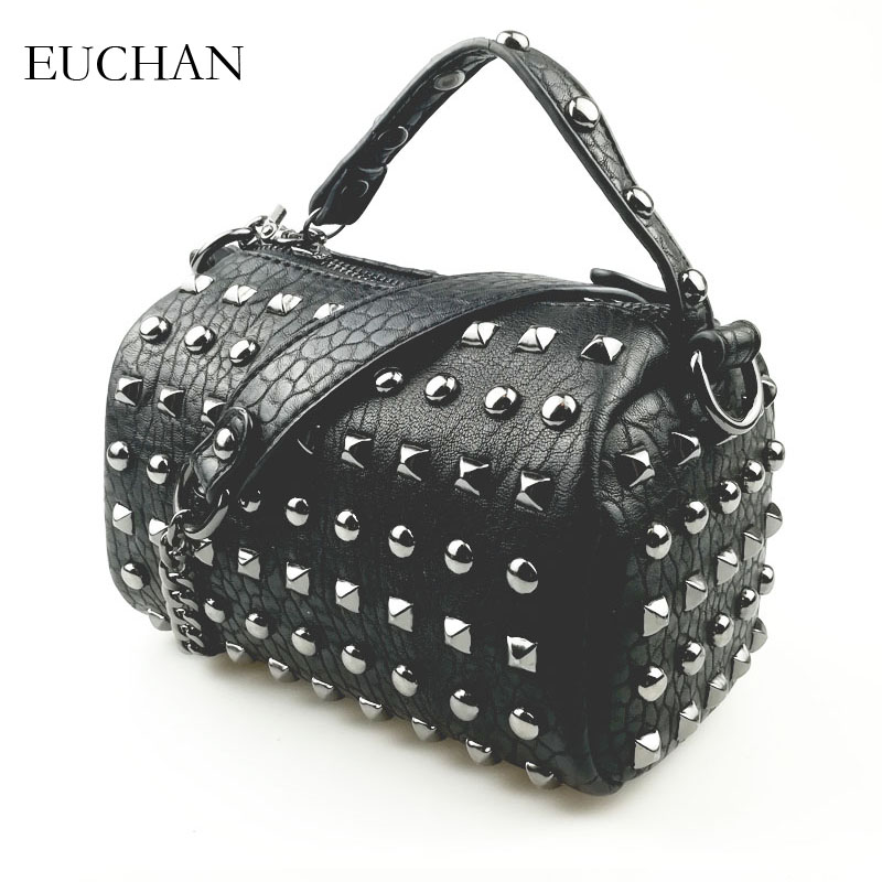 Euchan Women s Handbags Studs Bags for Women 2018 Ladies Bags Black Aging  Treatment PU Leather Crossbody Bag Small Messenger Bag-in Top-Handle Bags  from ... 5dac68e104d6