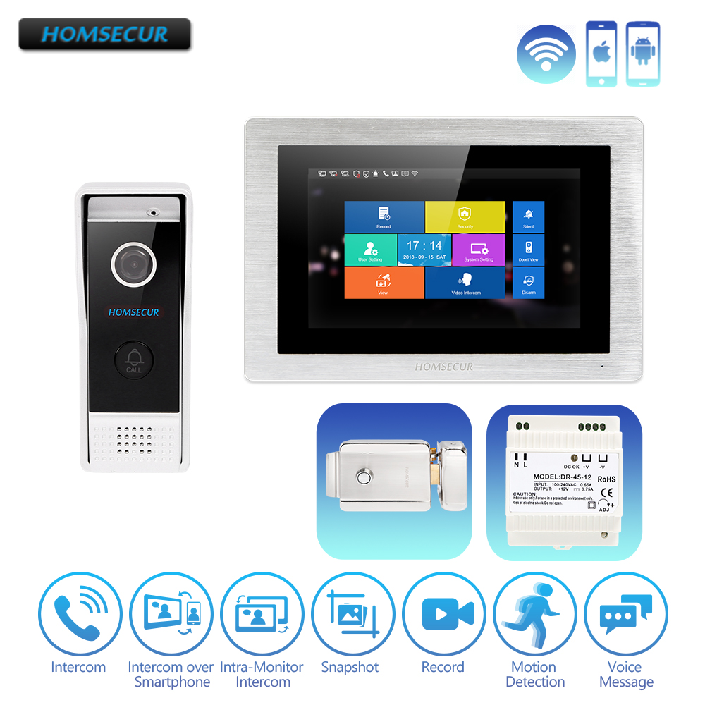 "HOMSECUR 7"" Hands free iOS/Android Wired Video&Audio Home Intercom Touch Screen with Motion Detection Electric Lock with Keys