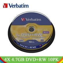 Verbatim 4x4,7 GB DVD+ RW пустой диск 10pk шпиндель Лот фирменный перезаписываемый диск Медиа Компактное хранение данных DVD