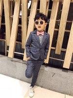 England Wedding Formal 2PCS/set Suit Boys Casual Blazer Jacket +Pant Two Suits For Kids Clothes 3 8T Children's Blazer 100 140cm