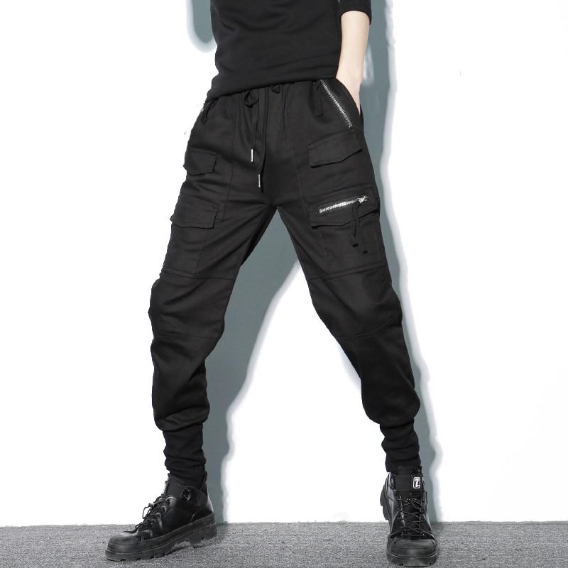 Брюки шаровары мужские, хлопковые, черные, на молнии, с  карманами, повседневные, тонкие, весенниеПовседневные брюки   -