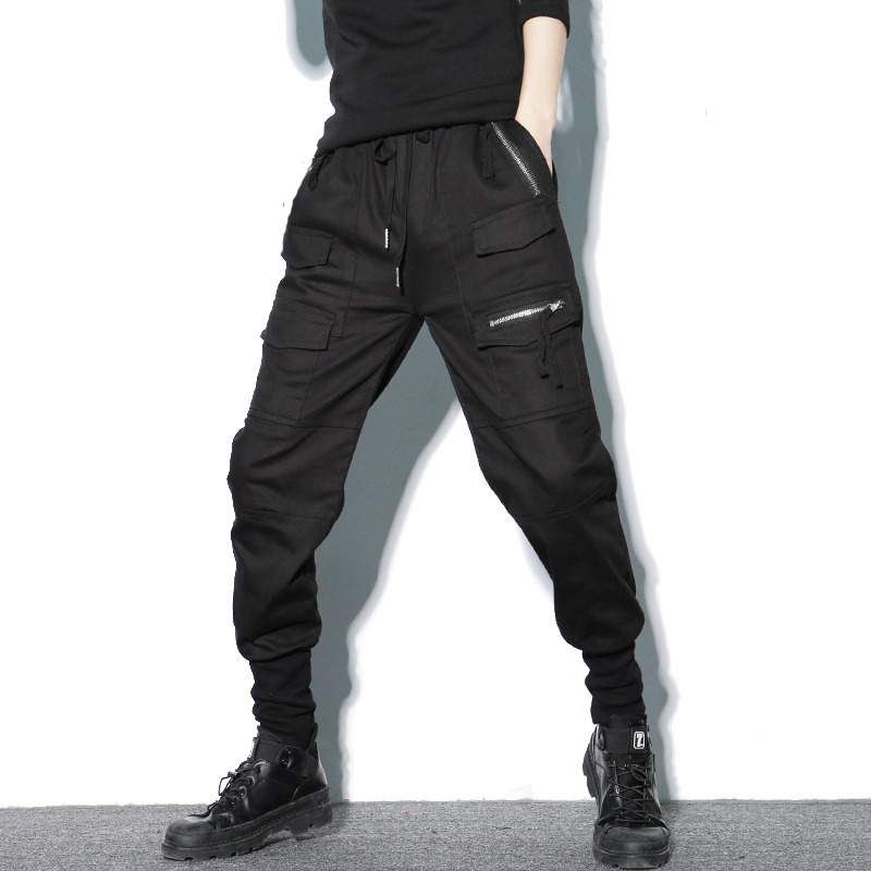 Streetwear Joggers Harem Pants Men Cotton Black Zippers Pockets Man Sweatpants Casual Slim Spring Cargo Mens Joggers Pants