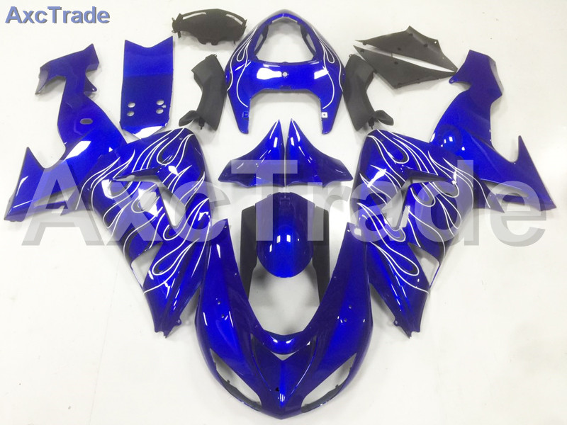 Motorcycle Fairings Kits For Kawasaki Ninja ZX10R ZX-10R 2006 2007 06 07 ABS Plastic Injection Fairing Bodywork Kit Blue A11 abs full fairing kit for kawasaki zx10r 2006 2007 red flames in black plastic fairings set ninja zx 10r 06 07 body kits zs26