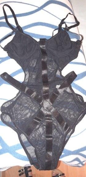 Lace Bodysuit Women Body Bandage Patchwork Mesh Bodysuit Black Halter Sexy Bodysuit Club Jumpsuit Overalls photo review