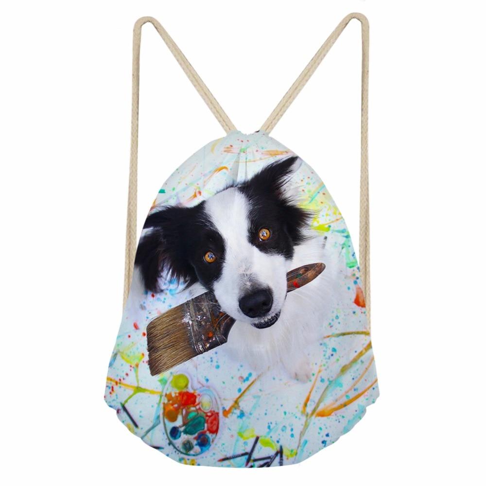 Cute 3D Animal Border Collie Dog Print Women Men Drawstrings Bags Fashion Softback Storage Backpacks Beach Bags