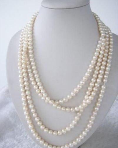 SUPER LONG 100 pouce blanc d'eau douce véritable collier de perles 7-8 MM>>> filles collier ras du cou pendentif livraison gratuite