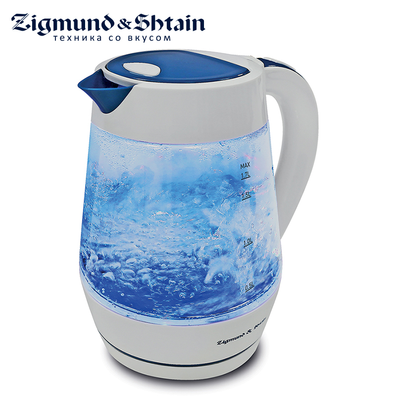 Zigmund & Shtain KE-817 Electric Kettle 2200W 1.7L Water level scale Removable filter Safe-opening lid aqua water ionizer inside carton filter