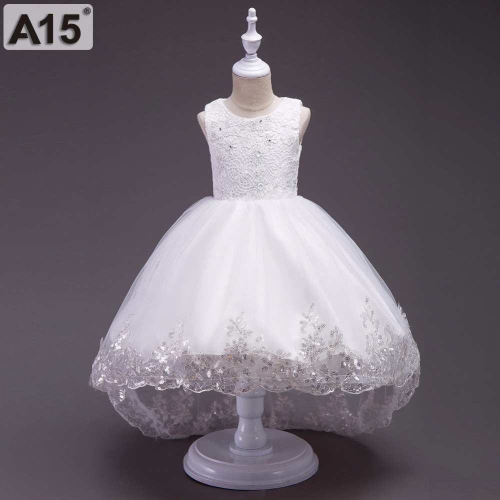 A15 Summer Toddler Girls Princess Dress Kids Girls Wedding Lace Dress Infant Party Dresses for Girls White Children Clothing 5 8 baby girls dress summer lace princess kids dresses for girls embroidered solid toddler costumes for party wedding child clothing