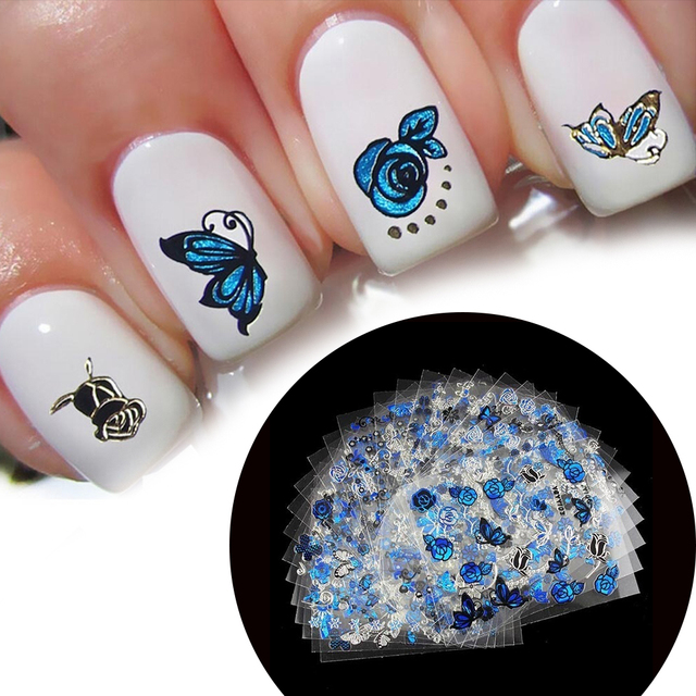 24 Sheets Flower Leaf Butterfly 3d Nail Art Stickers Decal Manicure