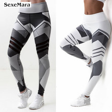SexeMara Fitness Women Yoga Pants New Print Tight Leggings Athleisure Sportswear Running Sports Trouser Plus Sizes