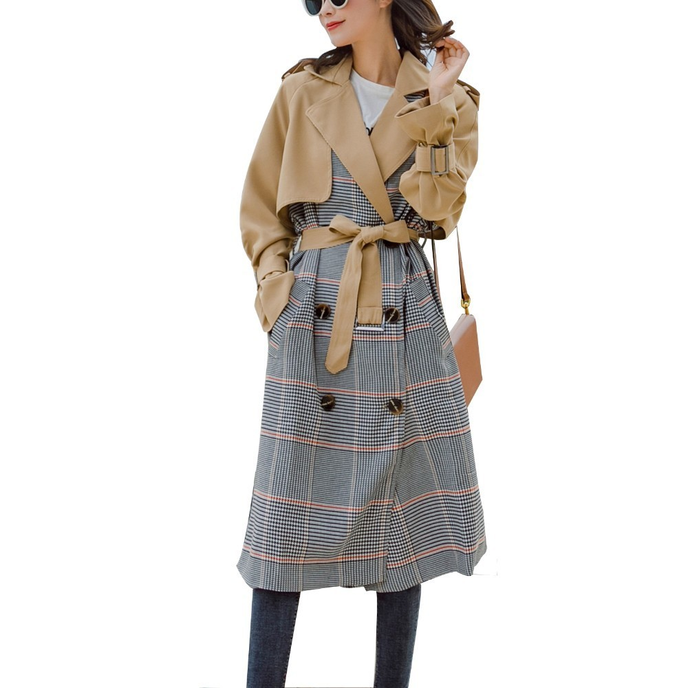 Autumn Coat Female 2019 New Color Hepburn Coat Plaid Long Windbreaker Female Atmosphere   Trench   Adjustable Waist Epaulet