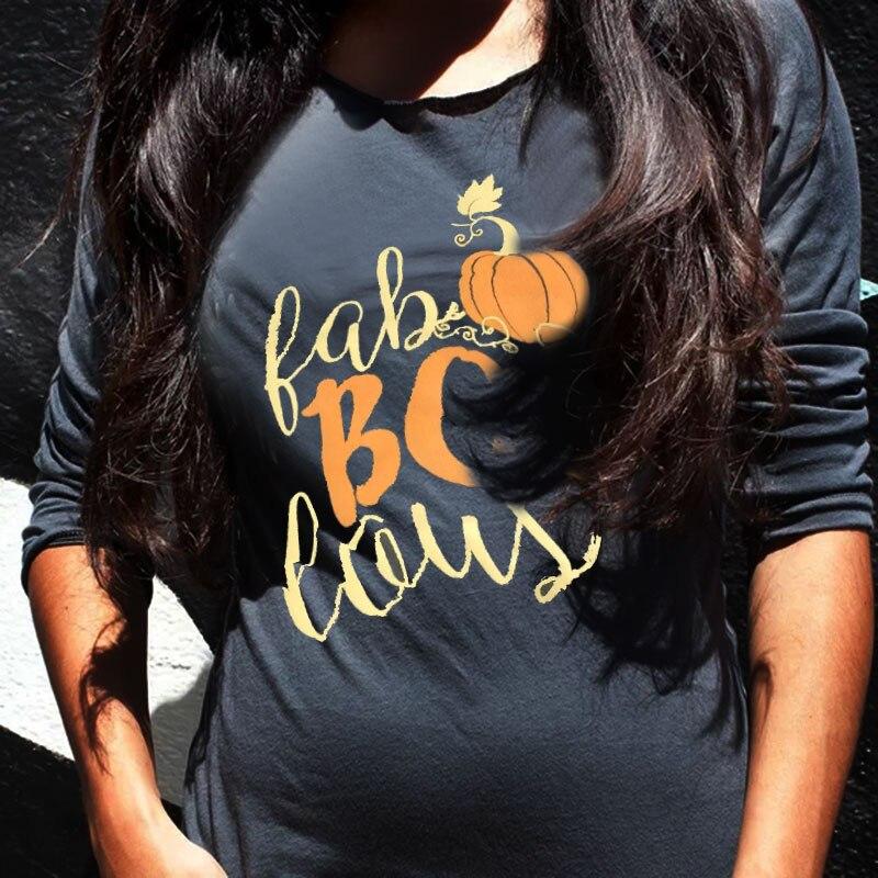 T-shirt Delle Donne di Halloween t shirt Boo Zucca Stampa O-Collo Manica Lunga T-Shirt Femminile Casual Grigio t shirt Femme Signore Magliette e camicette tee