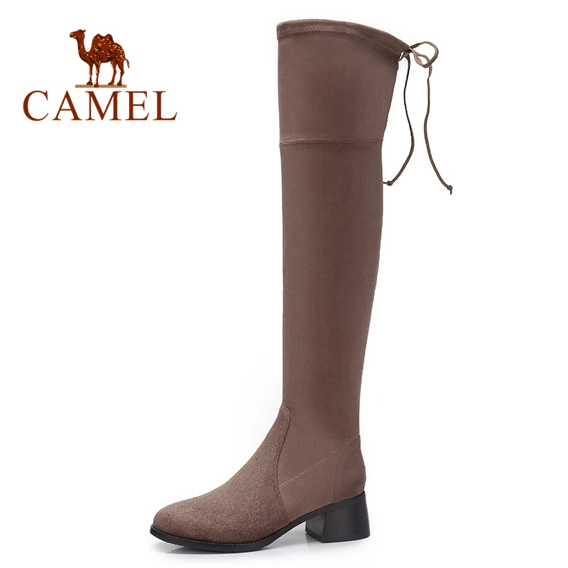 CAMEL Shoes Woman High Heel Fashion Lace Winter Thigh High Long Boots Over The Knee Boots Woman Suede Stretch Fabric Long Boots black stretch fabric suede over the knee open toe knit boots cut out heel thigh high boots in beige knit elastic sock long boots