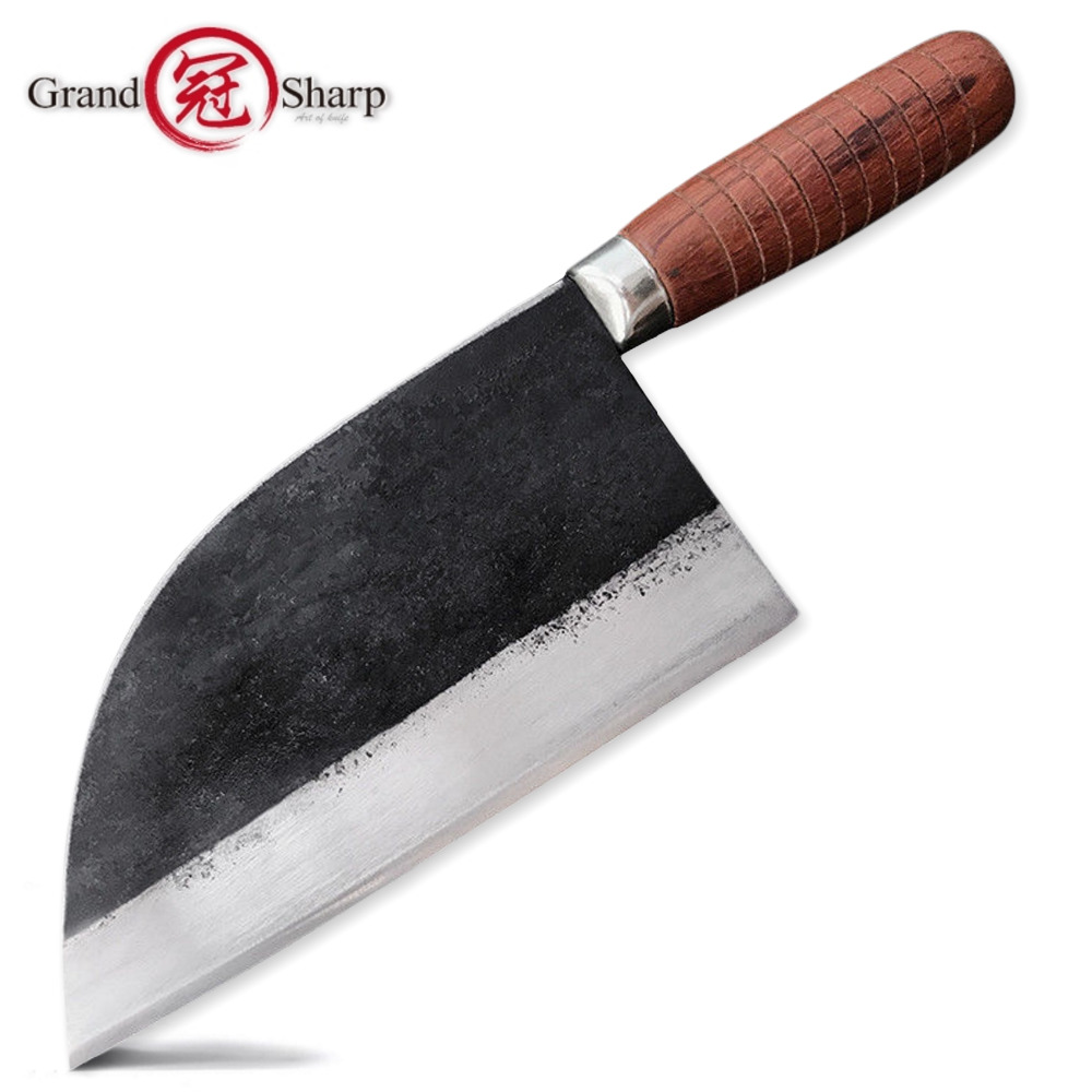Us 421 Handmade Forged Chef Knife Carbon Steel Forged Traditional Chinese Cleaver Kitchen Knives Meat Vegetables Slicing Chopping Tool In Kitchen