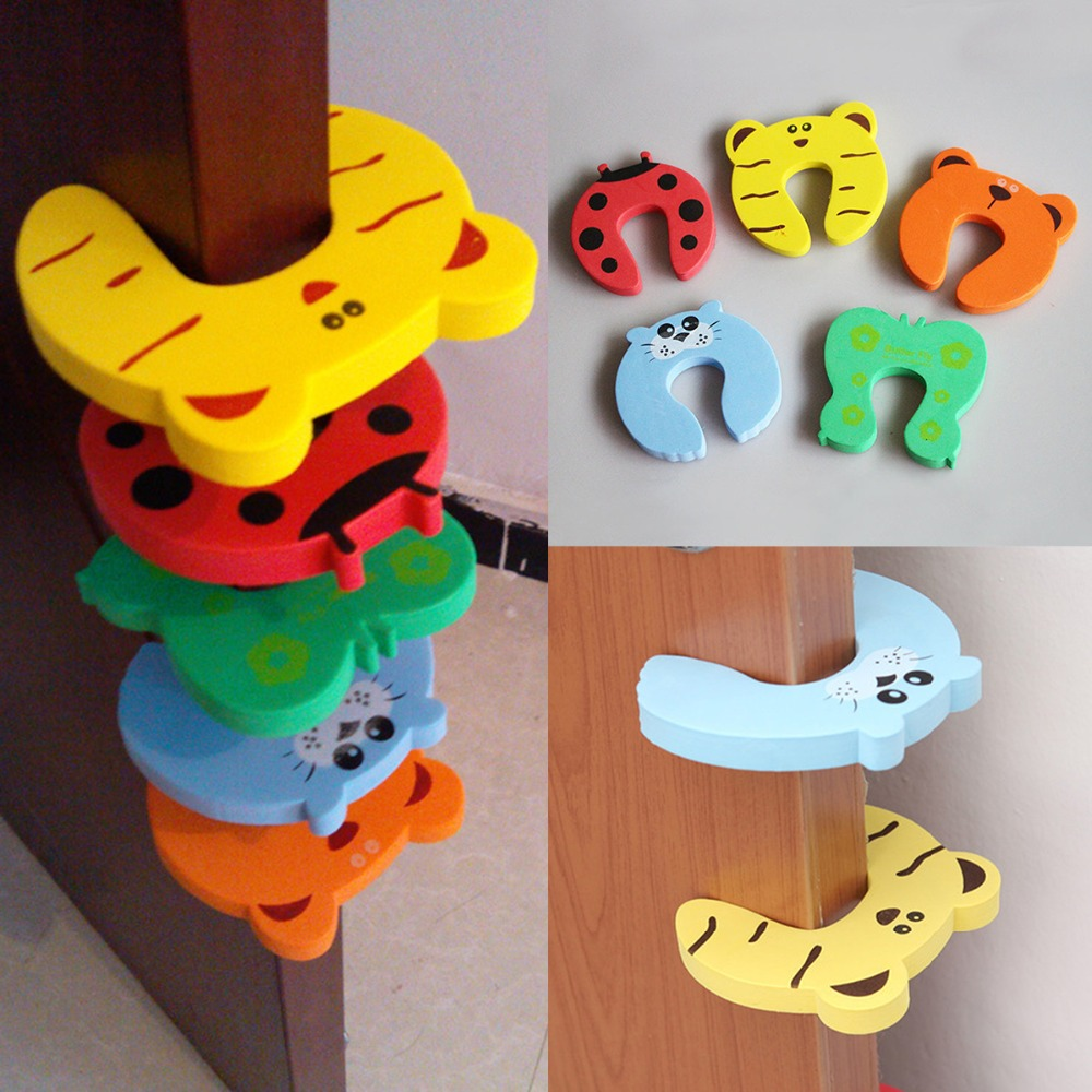 4pcs/lot Kids Baby Cartoon Animal Jammers Stop Edge Corner Guards Door Stopper Holder Lock Baby Safety Finger Protector