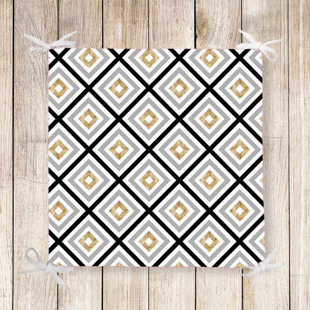 Else Black Gray Yellow Tiles Nordec 3d Print Chair Pad Seat Cushion Soft Memory Foam Full Lenght Ties Non Slip Washable Zipper