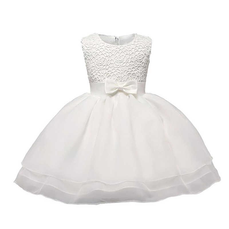 b33c6ce53 Blanco recién nacido Vestido sin mangas de bautismo bebé niña encaje bautizo  Vestido, Vestido de