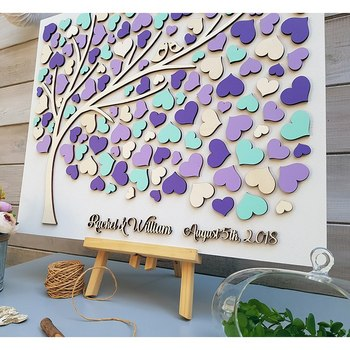 Personalized Wedding Guest Book Alternative Guest Book Hearts Colorful Rustic 3D Wedding Sign In Tree Party Guest Book