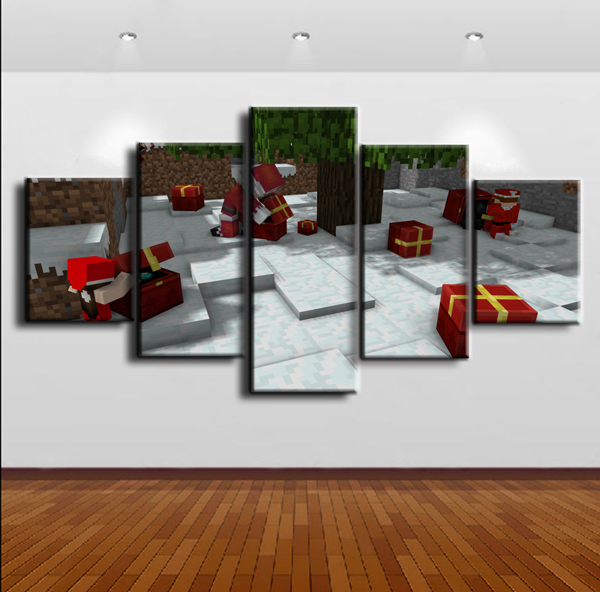 Christmas Type Game Poster Home Decor 5 Pieces Minecraft Painting Canvas HD Printed Modern Wall Art Decorative Modular Pictures in Painting Calligraphy from Home Garden