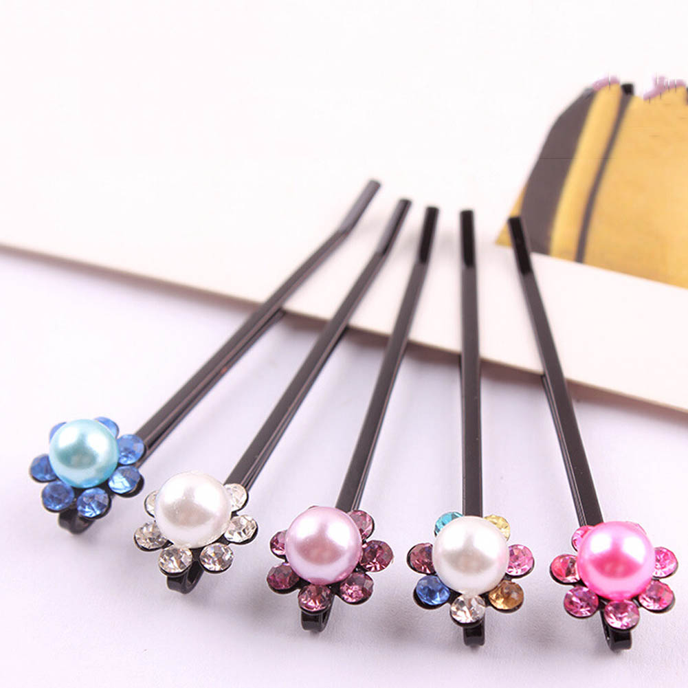 Fashion Imitation Pearls One Word Clip Hair Pins Clips  Flower  Hairpins Fashion Jewelry Accessories