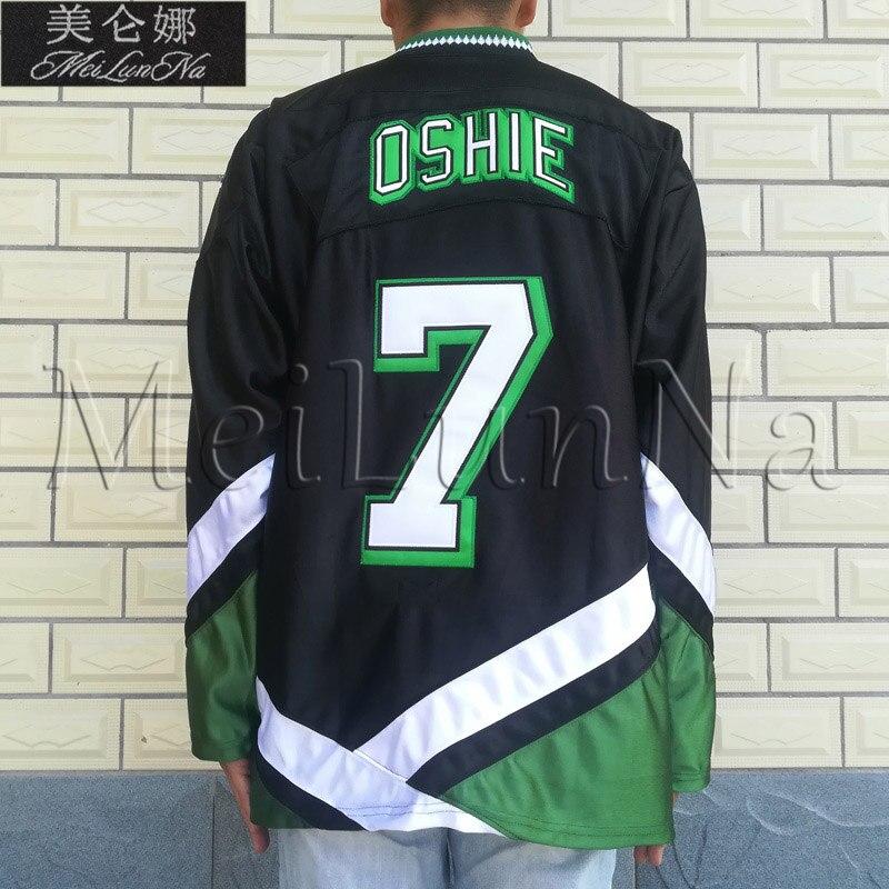 MeiLunNa UND North Dakota Fighting Sioux Retro Jerseys 7 TJ Oshie 0707 Green Black Jersey