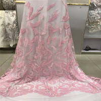 Evening Dress Design Baby Pink Embroidery Tulle Lace 2018 High Quality French Dress Mesh Lace Sequin Nigerian Lace Fabric X892 3