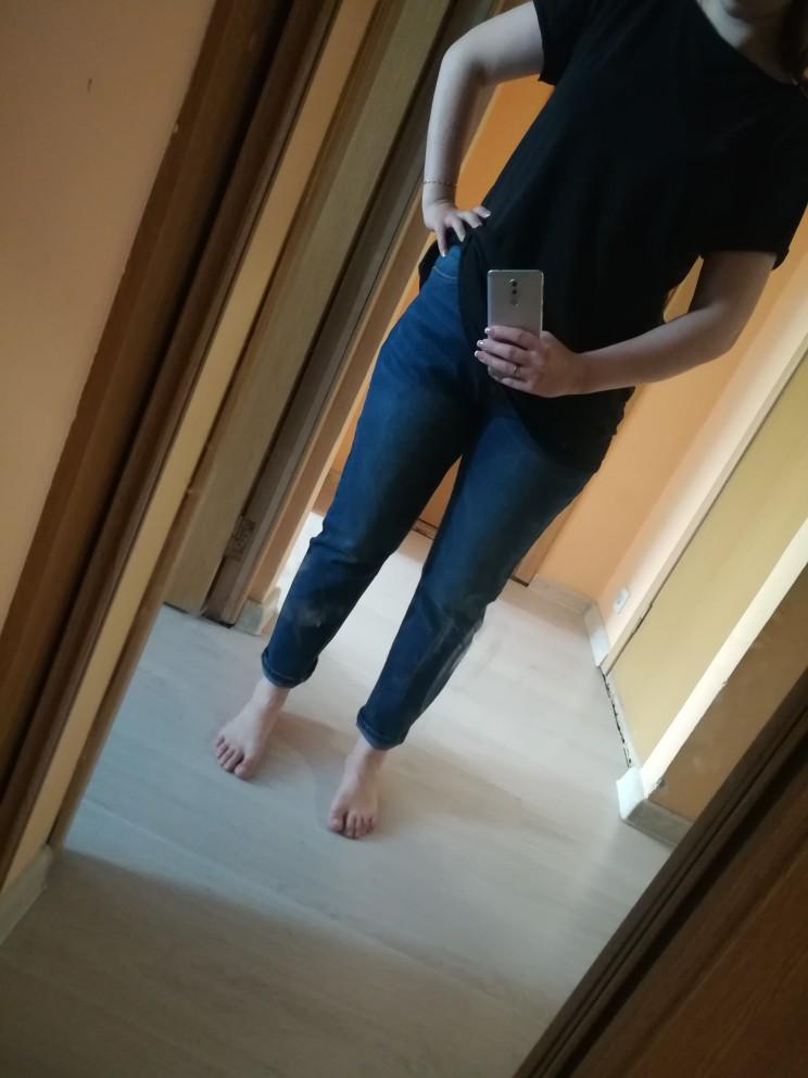 Autumn Blue Color 5Xl 6Xl Plus Size Cotton Loose Denim Pant Mid Waist Full Length Regular Boyfriend Jeans For Women photo review