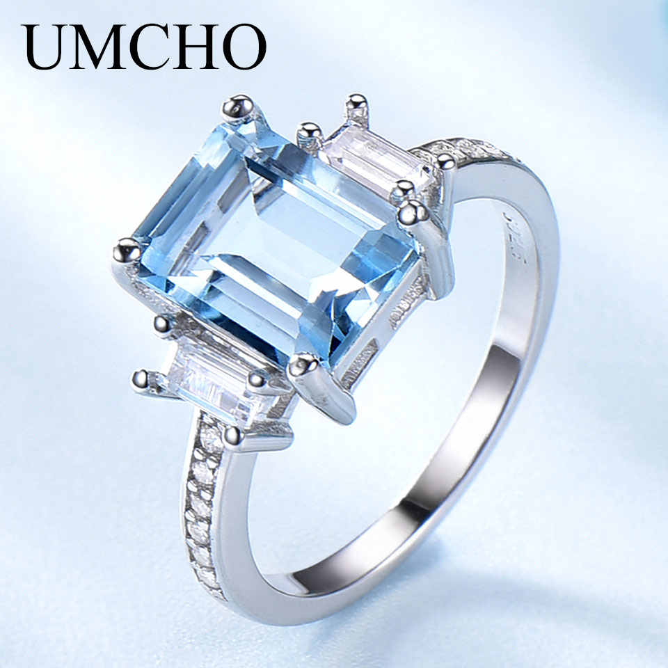 UMCHO Blue Topaz Gemstone Rings for Women Genuine 925 Sterling Silver Aquamarine Ring Romantic Wedding Engagement Fine Jewelry