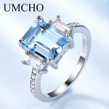 UMCHO Blue Topaz Gemstone Rings for Women Genuine 925 Sterling Silver Aquamarine Ring Romantic Wedding Engagement Fine Jewelry hutang new style natural aquamarine promise ring solid 925 sterling silver gemstone ring fine jewelry wedding women s rings gift