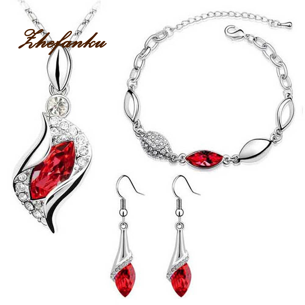 New high quality Jewelry sets Crystal Earrings Necklace Water drop set Angel elves Horse Eye