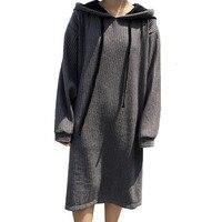 2017 Women Vintage Long Brief Pullover Shift Dress Autumn Long Sleeve Loose Casual Grey Hooded Sweatshirt
