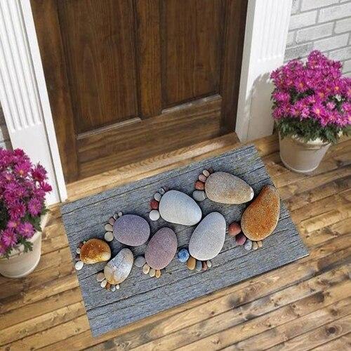 Else Gray Tree Wood Blue Brown Foot Pebble Stones 3d Pattern Print Anti Slip Decorative Floor Door Mat Home Entryway Livingroom