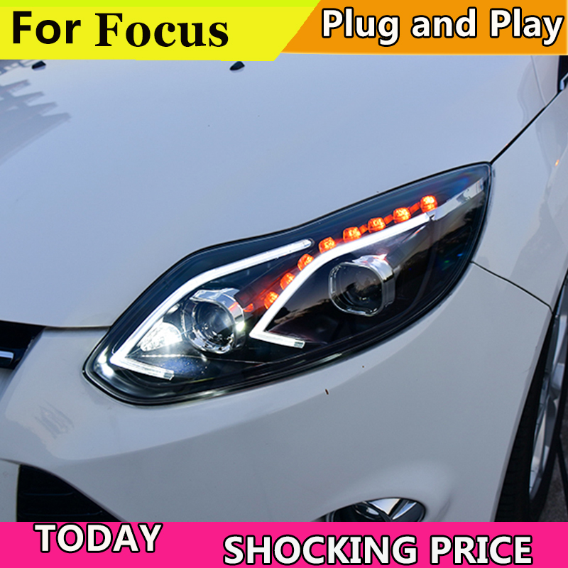 Car Styling Headlights for Ford Focus 2012-2014 LED Headlight for Focus Head Lamp LED Daytime Running Light LED DRL Bi-Xenon HID цены