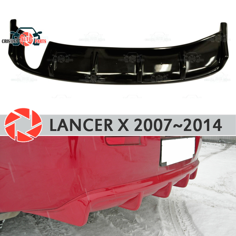 Diffuser for Mitsubishi Lancer X 2007-2014 on rear bumper plastic ABS accessories car styling body kit decoration tuning okeen car styling for honda crv 2009 2008 2007 tail trunk led rear bumper reflector light red lens lamp fog brake lights