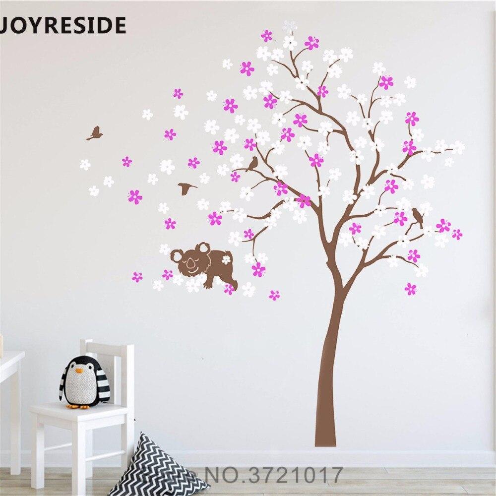 Joyeux arbre fleurs Koala Sticker mural grand cerisier Sticker mural vinyle décalque maison enfants chambre décor intérieur Design A716