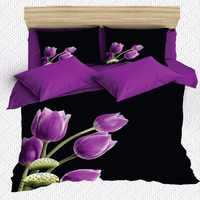 Autre 6 pièces noir violet tulipes fleurs vert feuilles 3D imprimé coton Satin Double housse de couette literie ensemble taie d'oreiller drap de lit