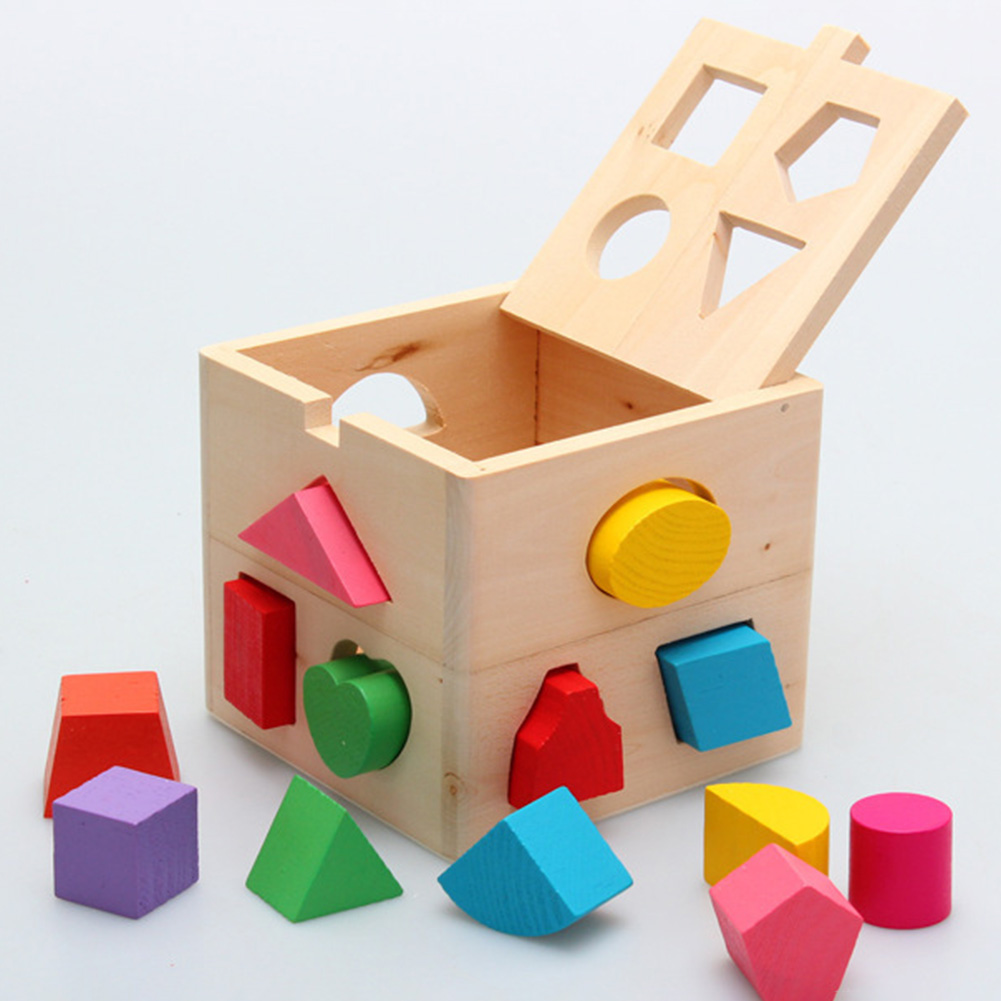 13 Holes Intelligence Box For Shape Sorter Cognitive And Matching Wooden Building Blocks Baby Kids Children Educational Toy Gift wooden tower wood building blocks kids toy domino 54pcs stacker extract building blocks children educational game gift 4pcs dice