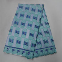 atest African Cotton Swiss Voile Lace Fabric High Quality Sky blue embroidery big swiss lace fabric with stones