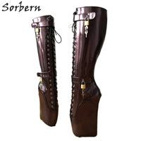 Sorbern Hoof Heelless Knee High Boot Custom Wide Calf Size Sexy Fetish High Heels Shoe Pinup Ballet Lockable Wedge Boot Eggplant