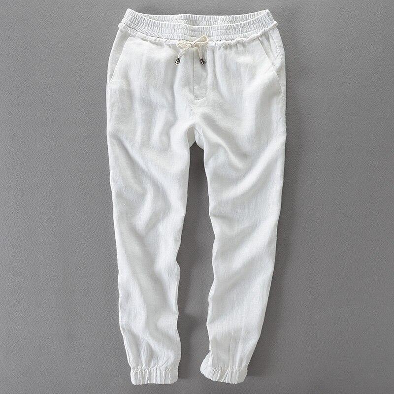 Чистый цвет льняные брюки мужские летние с девяти минут Штаны, шнуровка провода ноги девять минут Штаны повседневные штаны Свободные песок