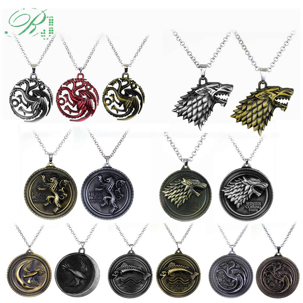 RJ Game of Thrones Necklaces House Stark Lion Wolf Dragon Deer Logo Pendant A Song Of Ice And Fire Targaryen Dragon Keyring Gift
