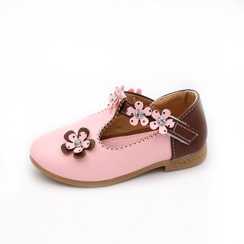 Kids Girls PU Leather Shoes Elegant Flowers Rhinestone Princesses Dancing Casual Shoes Soft Children Baby Girls Single Shoes